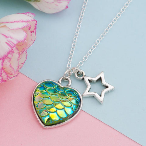 Heart Shape Mermaid Scales Necklace - necklace - Rebel Style Shop