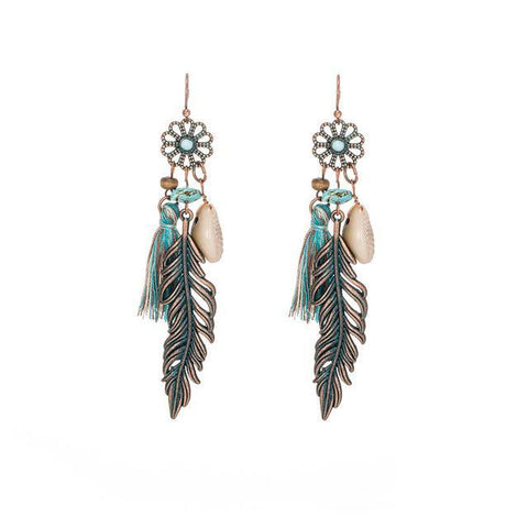 Vintage Feather Boho Earrings