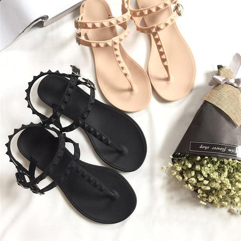 PU Leather Pyramid Stud Sandals - Sandals - Rebel Style Shop