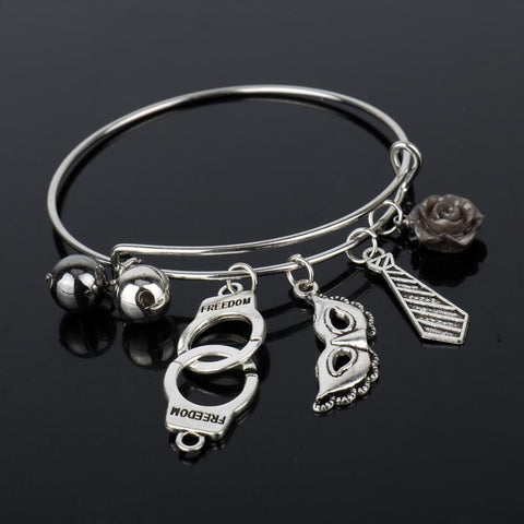 50 Shades of Grey Inspired Adjustable Charm Bracelet