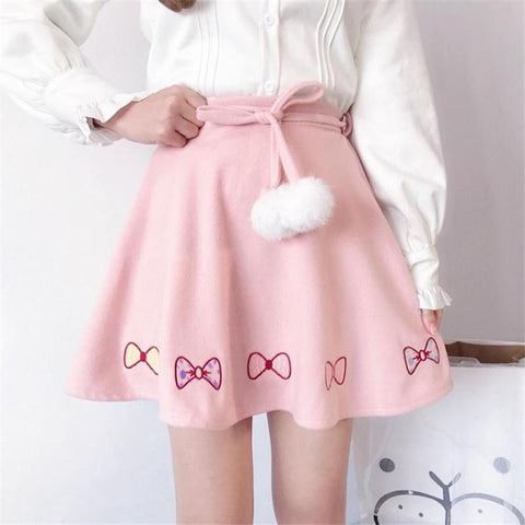 Bow Knot Kawaii Skirt with Pom