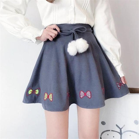 Bow Knot Kawaii Skirt with Pom - Skirt - Rebel Style Shop