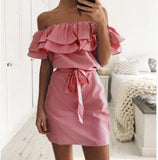 Off Shoulder Ruffled Mini Dress