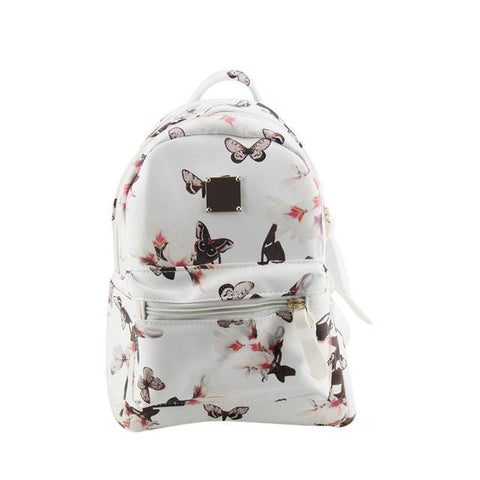 Women's Faux Leather Butterfly Backpack