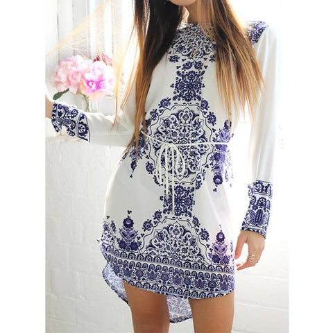 Blue And White Porcelain Pattern Dress - Rebel Style Shop - 1