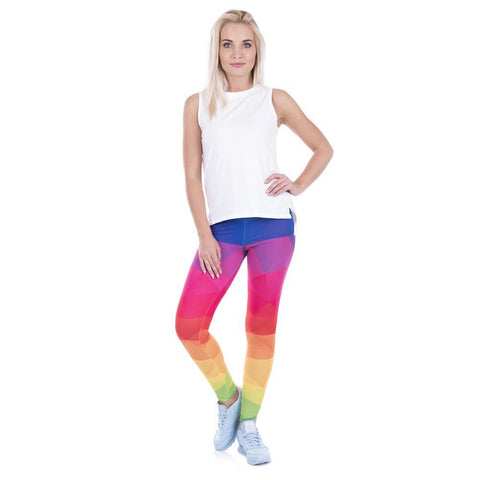 Geometric Rainbow Leggings - Leggings - Rebel Style Shop