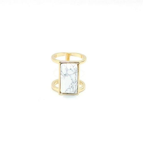 Rectangle Marble Ring - rings - Rebel Style Shop