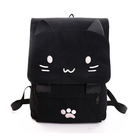 Kawaii Kitty Canvas Backpack