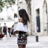 Boho Floral Embroidered Mini Skirt - Embroidered Skirt - Rebel Style Shop