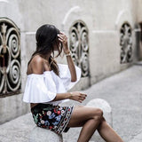 Boho Floral Embroidered Mini Skirt