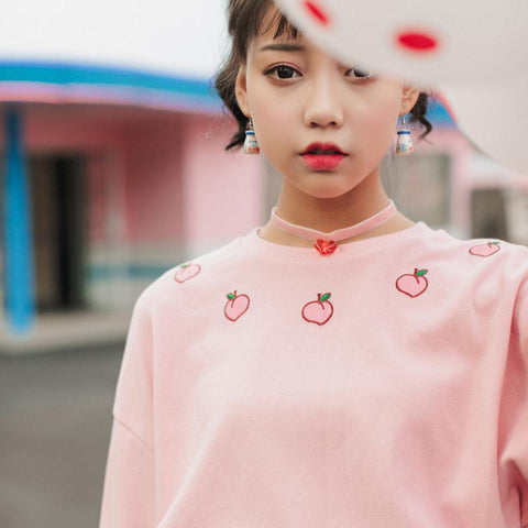 Cute Japanese Harajuku Strawberry Pullover Sweater