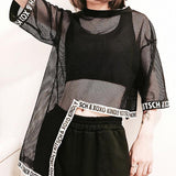 Harajuku Street Fashion Long Transparent Mesh Top - mesh top - Rebel Style Shop