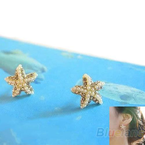 Starfish Rhinestone & Pearl Earrings - Earrings - Rebel Style Shop