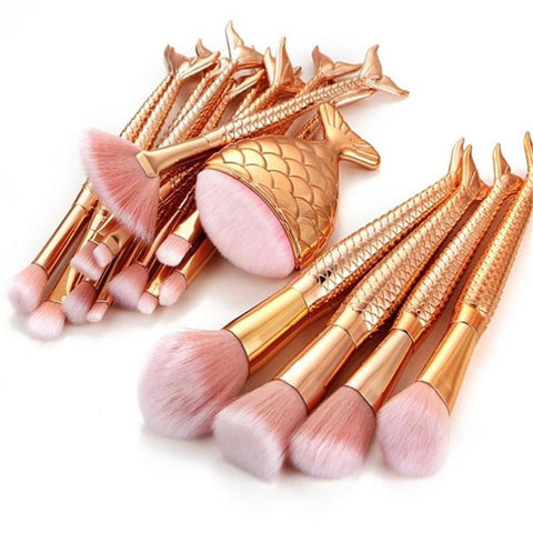 Rose Gold Mermaid Tail Brush Set