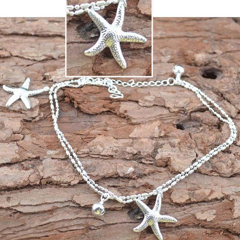 Silver Starfish Anklet - Rebel Style Shop - 1