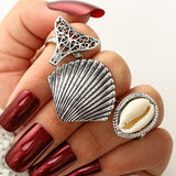 Mermaid Tail and Shell 3-piece Midi Ring Set