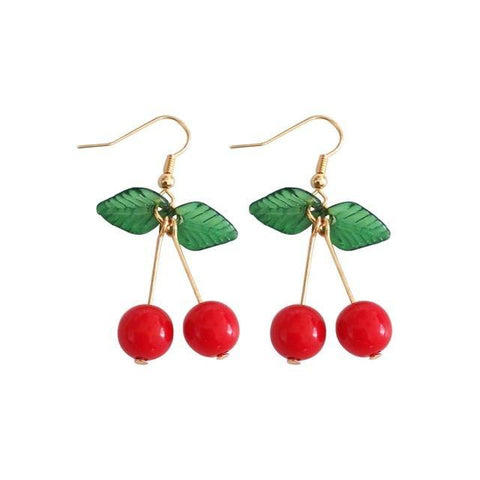 Rockabilly Cherry Drop Earrings - Earrings - Rebel Style Shop