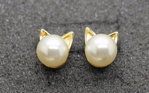 Pearl Cat Earrings - Gold - Rebel Style Shop - 1