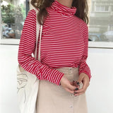 Black and White Striped Turtle Neck Long Sleeve Top