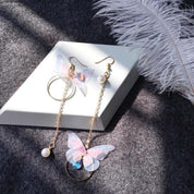 Pastel Butterfly With Pearl Dangling Earrings
