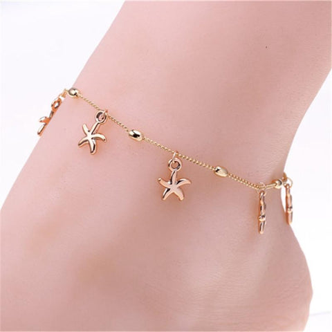 Gold Starfish Anklet - Anklet - Rebel Style Shop
