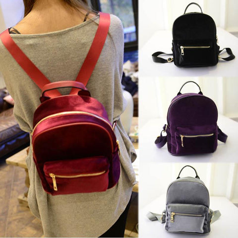 Ladies' Casual Velvet Backpack