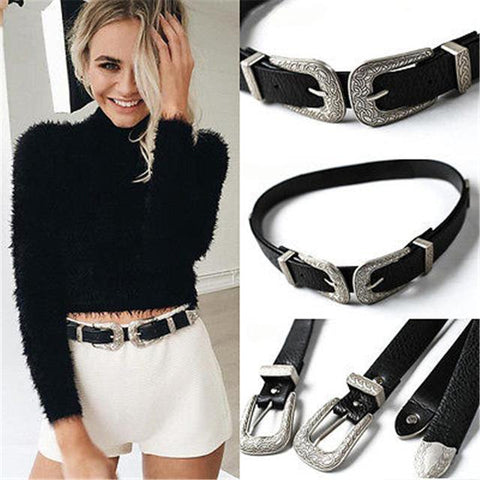 Boho Vintage Double Buckle Belt