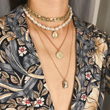 Multilayer Chain And Pearl Necklace With Medallion Pendant Set