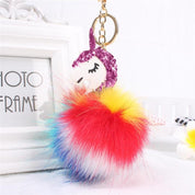 Unicorn Pom Key Ring