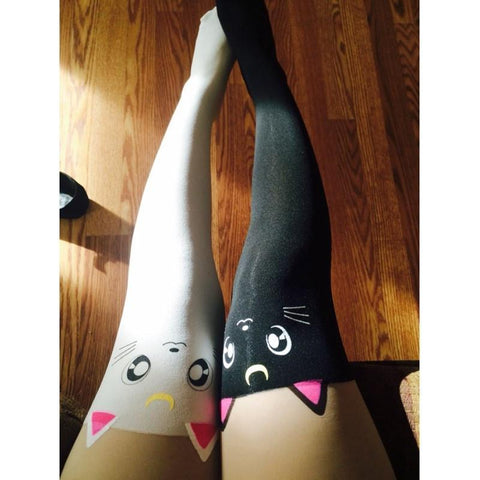 Sailor Moon Tights Luna Cat Faux Thigh High Pantyhose - Rebel Style Shop - 1