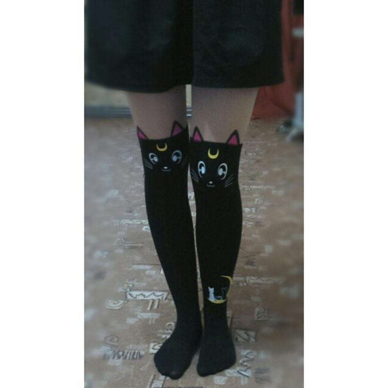 aab58c79a52 Sailor Moon Tights Luna Cat Faux Thigh High Pantyhose - Stockings - Rebel  Style Shop