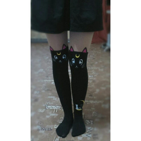 Sailor Moon Tights Luna Cat Faux Thigh High Pantyhose - Rebel Style Shop - 2