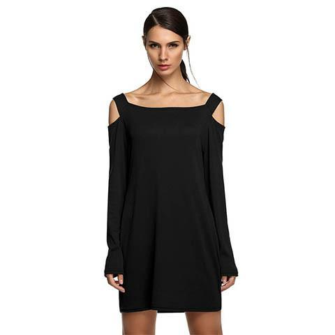 Sexy Casual Cut Out Shoulder Mini Dress - Rebel Style Shop - 1