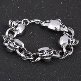 Stainless Steel Chain Link Skull Bracelet - Rebel Style Shop - 3