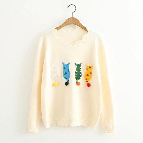 Kawaii Cat Embroidery Knitted Pullover
