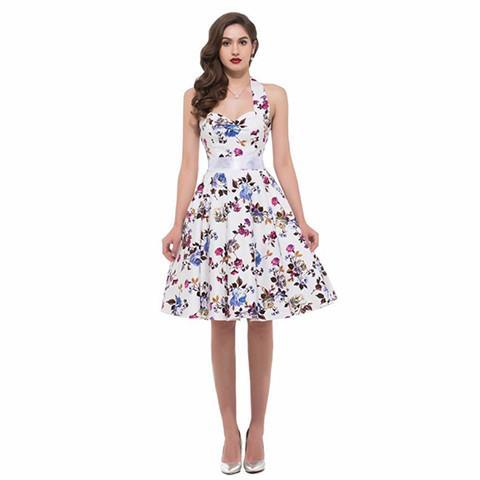 Halter Rockabilly Floral Dress - Rebel Style Shop - 1