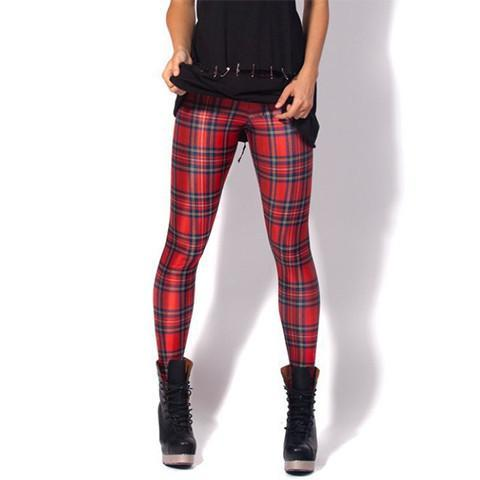 Vintage Tartan Printed Leggings - Rebel Style Shop - 1