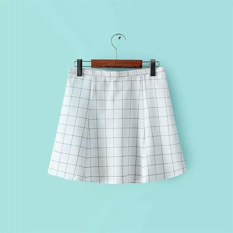 White Grid Mini Skirt - Rebel Style Shop - 1