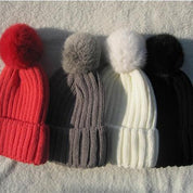 Winter Pompom Knit Beanie for Ladies - Women's Hats - Rebel Style Shop