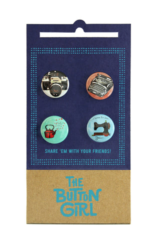 Four Button Set - camera, typewriter, teapot, sewing machine