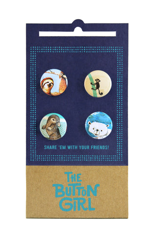 Four Button Set - sloth, monkey, platypus, polar bear