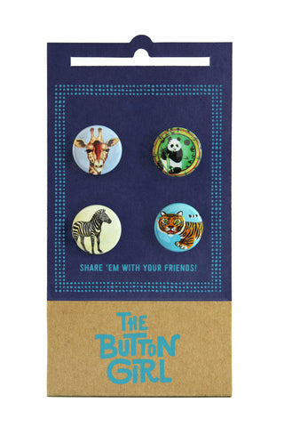 Four Button Set - giraffe, panda, zebra, tiger