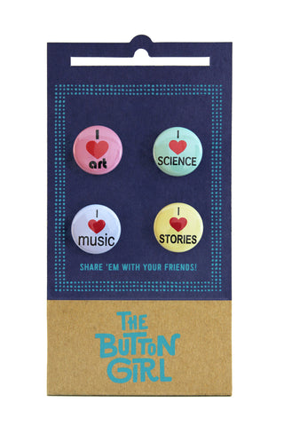 Four Button Set - I heart