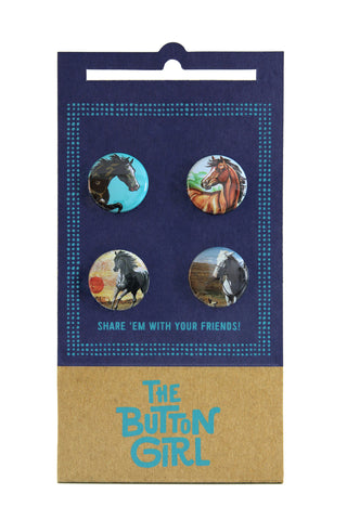 Four Button Set - horses
