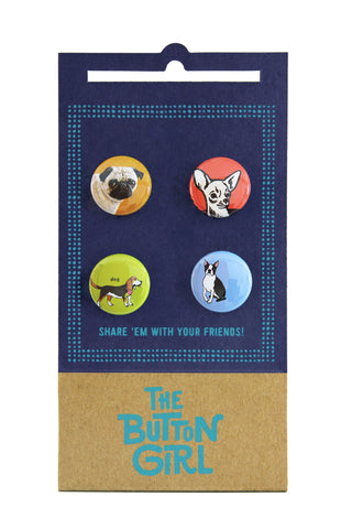 Four Button Set - dogs