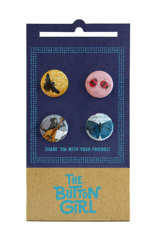 Four Button Set - bee, ladybug, cricket, butterfly