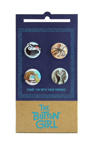 Four Button Set - ocean animals