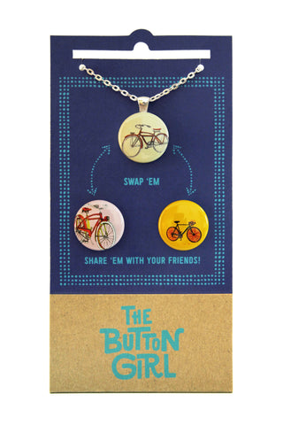 Magnetic Necklace with two interchangeable magnets - bikes