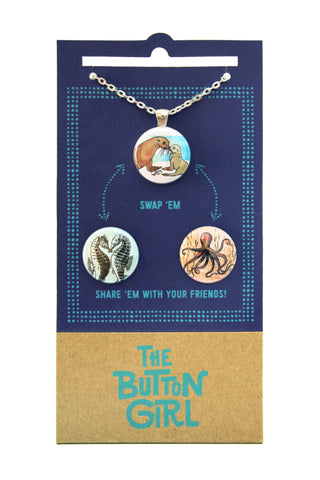 Magnetic Necklace with two interchangeable magnets - ocean animals