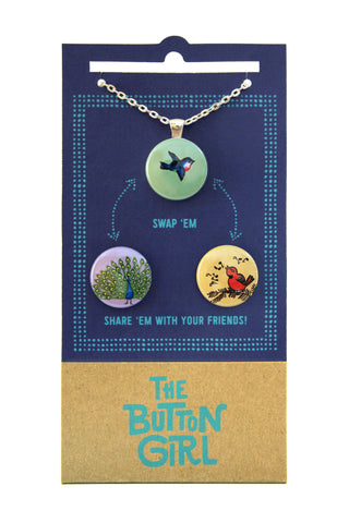 Magnetic Necklace with two interchangeable magnets - birds